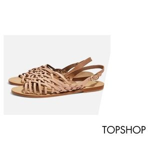 NWOB Topshop Hoxford Leather Woven Sandals